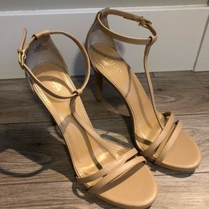 EXPRESS Stiletto T-Strap Ankle Strap Nude Heels
